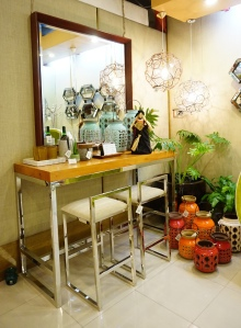 Restoration: I love their chrome stools. I imagined it to be the kitchen stools, if only the space were bigger.